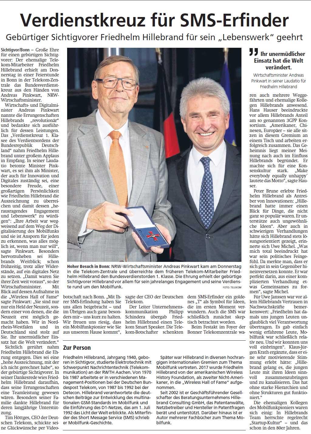 Friedhelm Hillebrand (Petern) aus Sichtigvor mit Prof. Dr. Andreas Pinkwart (Minister für Wirtschaft, Innovation, Digitalisierung und Energie in NRW) am 24.10.2019