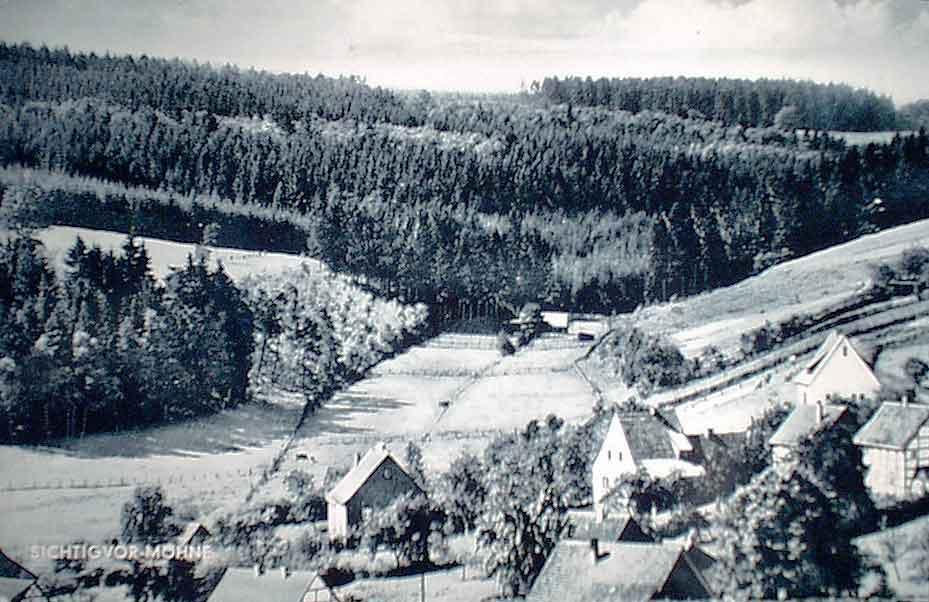 Blick um 1960 vom Loermund nach Süden ins Quomecketal mit der Hühnerfarm von Schallör