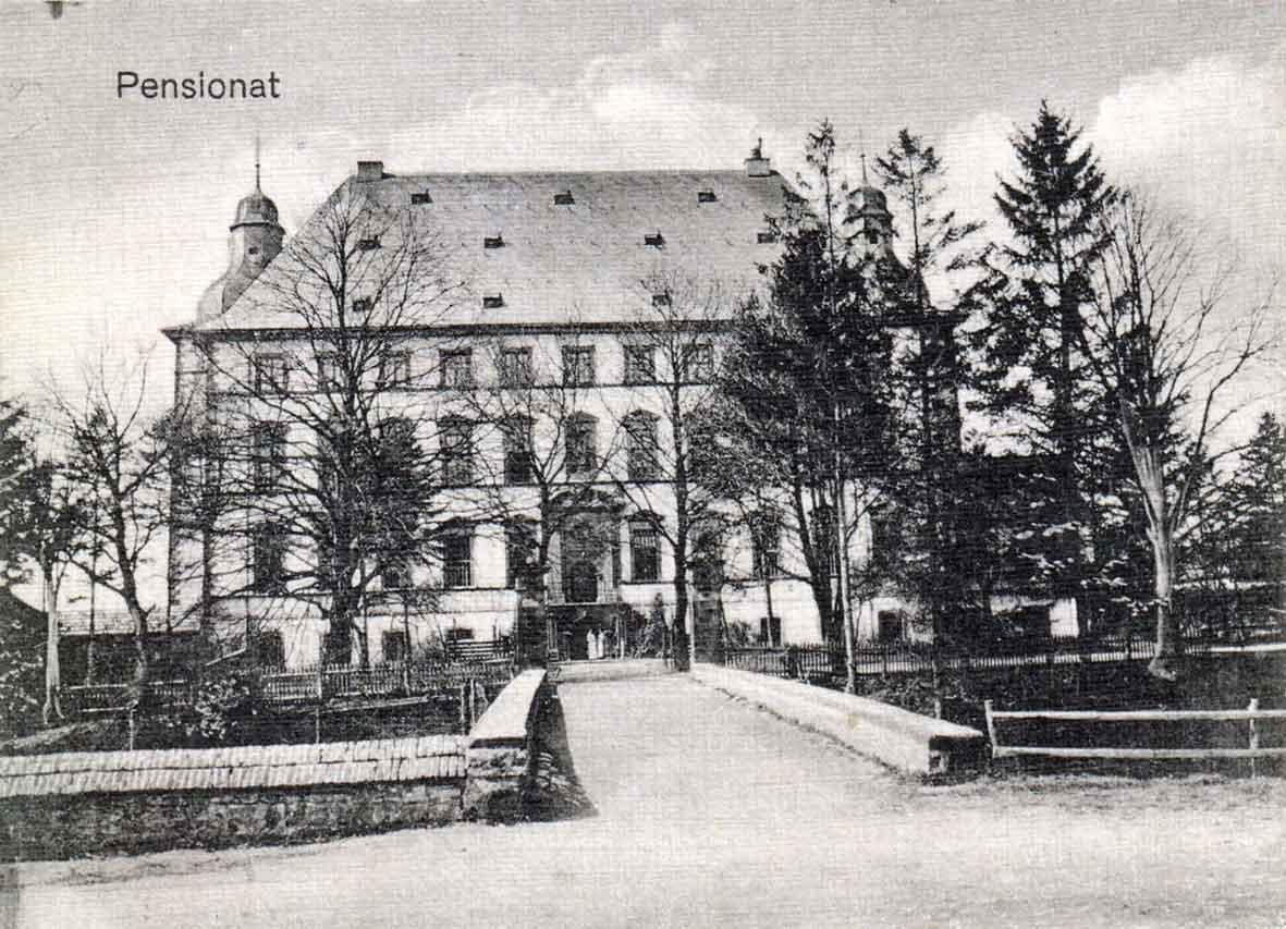 Postkarte vom Kloster Mülheim mit Mädchenpensionat vor 1914